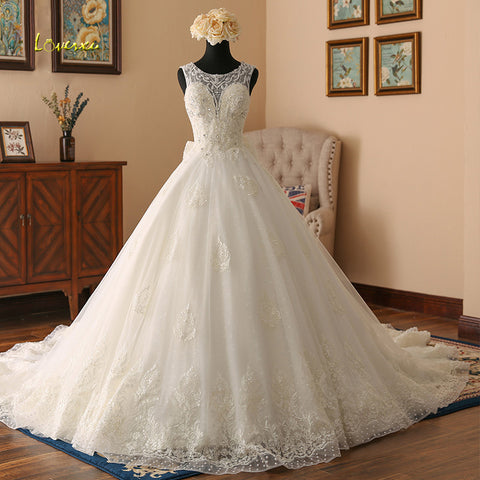 Loverxu Vestido De Noiva Sexy Illusion Vintage Wedding Dresses 2018 Appliques Beaded Royal Train A Line Bridal Gown Plus Size