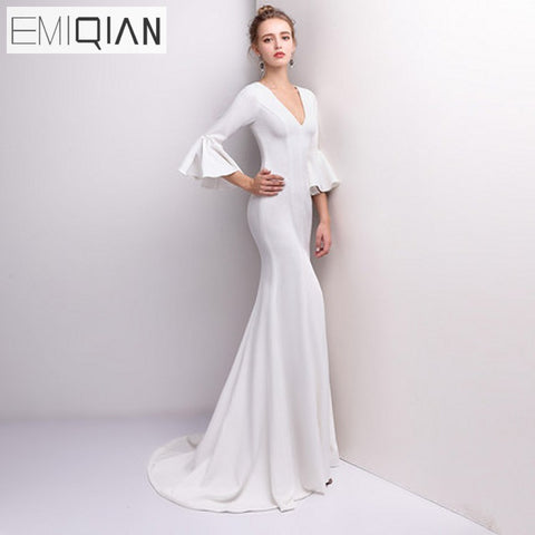 Elegant Sexy Deep V Neck Mermaid Bridal Wedding Dress Flare Sleeves Sweep Train Bride Gown
