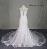 Applique Beaded Tulle Sexy Mermaid Long beach wedding dress