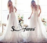 2017 Elegant A Line Beach Wedding Dresses Lace Sexy Deep V-neck Sheer Backless Appliques Sweep Train Bridal Gowns vestidos de no