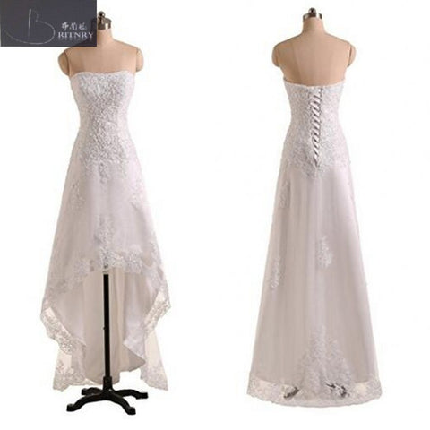 Summer Beach High Low Wedding Dress Strapless A Line Hi Lo Lace Bridal Gowns On Sales
