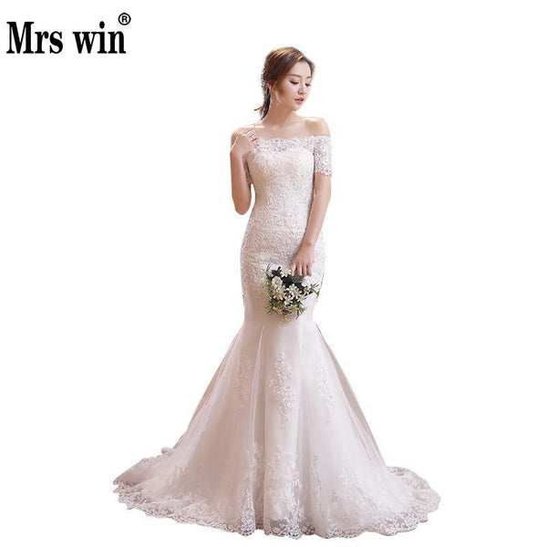 Wedding Dresses 2017 The Bride Short Sleeve Classic Lace Embroidery Elegant Boat Neck Luxury Court Train Mermaid Noble Dresses