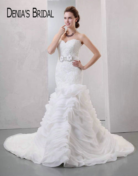 2017 Mermaid Wedding Dresses Lace Applique Ruffles Strapless Organza Court Train Bridal Gowns Custom Made