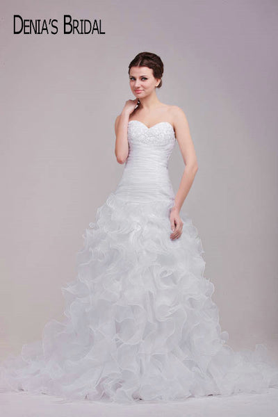 2017 Mermaid Wedding Dresses Sweetheart Neck Applique Beaded Ruffles Ruched Flowers Court Train Orangza Bridal Gowns Custom Made