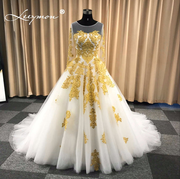 Leeymon Muslim Wedding Dress In Dubai White And Gold Long Sleeves