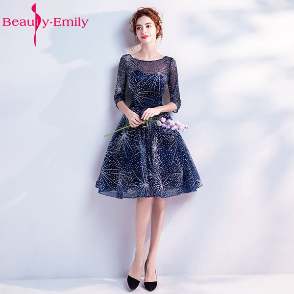 Beauty-Emily Short Royal Blue Prom Dresses 2018 A-Line Prom Gown Formal Homecoming Dresses Party Gowns Vestido De Festa Curto