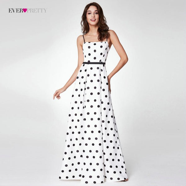 2018 New Arrival Polka Dot Printed Prom Dresses Ever Pretty EP07214 Long Spaghetti Strap A-line Satin Party Dresses With Pocket