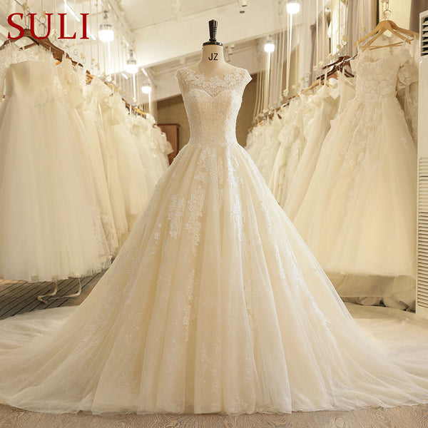 SL-125 Off White Wedding Gowns Open Back Beaded Wedding Boho Dress Lace Applique Chapel Train Bridal Top 10 Wedding Dresses 2018