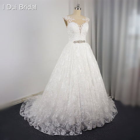 Sleeveless Wedding Dress Lace Layer Lace Up Pearl Beaded Crystal Belt 2017 Plus Size Bridal Alibaba Bridal Gown