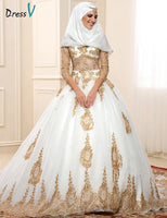 2017 Luxury Muslim Wedding Dresses V-Neck Golden Appliques Sheer with Long Sleeves A-line Amazing Cathedal Train Bride Dresses