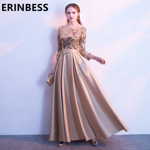 2018 Vestido De Festa Scoop Neck New Champagne Gold Sequined Long Sleeve Prom Dresses A Line Satin Formal Party Gowns