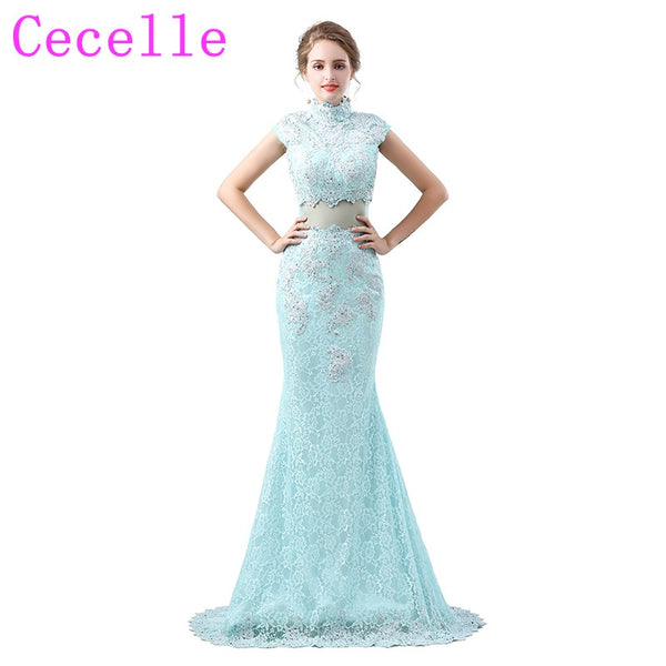 2018 New Arrival Long Lace Mermaid Beaded Prom Dresses Long Sheer Back Sweep Train High Neck Sleeveless Teens Prom Party Dresses