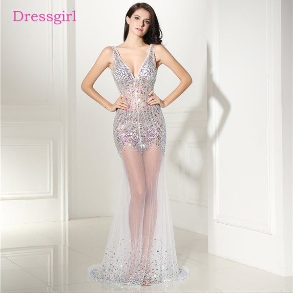 Backless 2018 Prom Dresses Mermaid V-neck Tulle Crystals See Through Sexy Long Women Prom Gown Evening Dresses Robe De Soiree