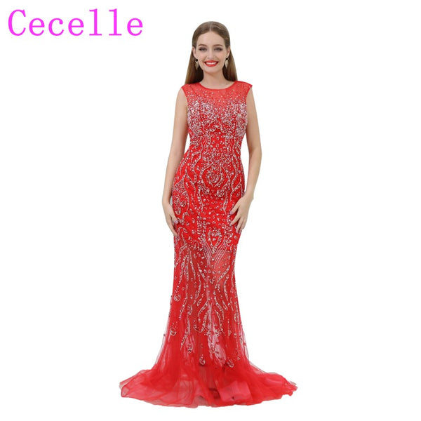 2018 New Luxury Beading Red Mermaid Long Prom Dress Jewel Neck Sheer Sweetheart Neckline Open Back Illusion Skirt Party Dress