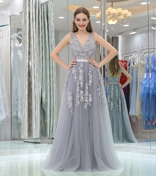 ... Forevergracedress Gorgeous A Line Prom Dress Sexy V Neck Tulle Long  Homecoming Evening Party Gown Plus 5f3eeba65b36