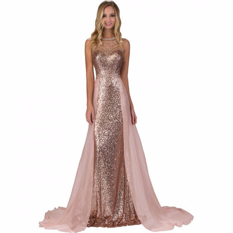 2017 Elegant scoop neck Pink Prom Dresses Long Sequin Chiffon Backless Beads Evening Gowns Long Formal Dress for graduation