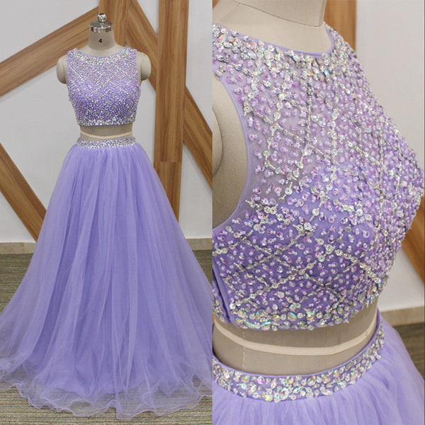 efd0a570ff1 Lavender Long Prom Dresses Sparkly Beaded Top 2 Pieces Prom Dress 2018  Custom Made A Line
