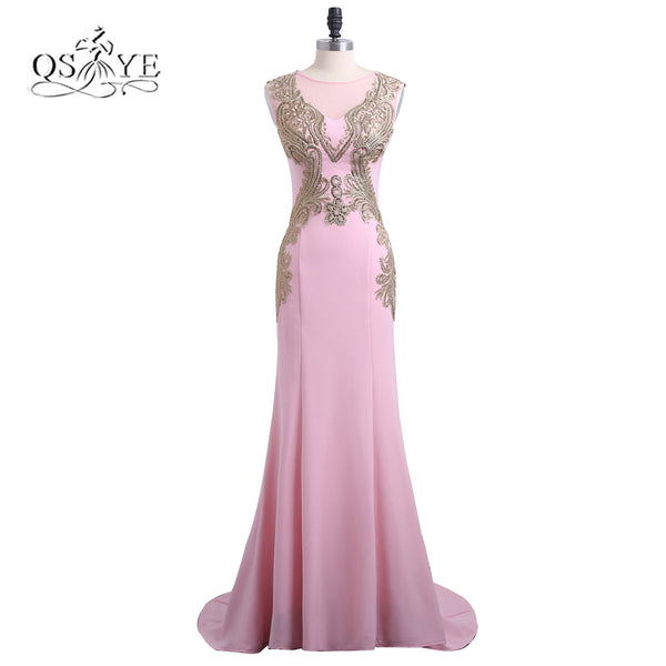 2018 New Arrival Pink Mermaid Long Prom Dresses Robe de Soiree O-Neck Gold Lace Formal Evening Dress Long Party Gowns Custom