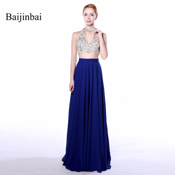 Baijinbai Long Royal Blue 2018 100% Real Picture A Line Crop Top Back Zipper Appliques Beading Sequined Chiffon Prom Dresses 547
