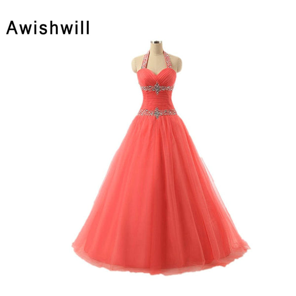 2018 Hot Sale Cheap Prom Dresses Ball Gowns Long Halter Tulle Beaded Lace-Up Sweet 16 Dresses Robe de soiree manche Longue