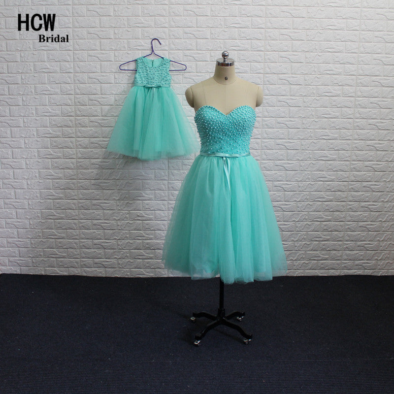 d64d7f89c1f Mother And Daughter Dresses 2018 Mint Green Pearls Tulle Short Prom Dr –  Azongalbridal