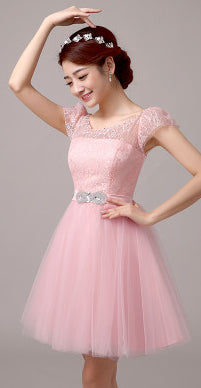 2018 light pink ivory short tulle puffy princess ball prom knee dress 12 girls dresses for teens robe de graduation W2764