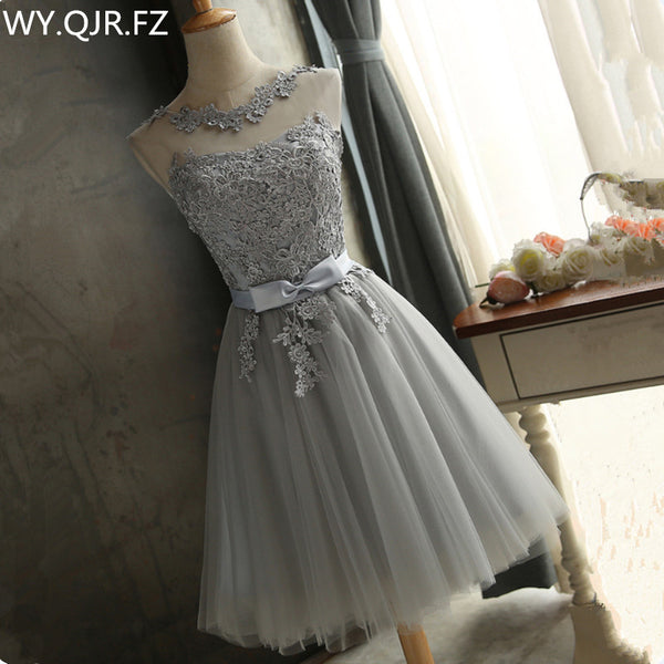ZHHS88#wholesale cheap wedding party prom dress 2018 spring new champagne and grey lace up fashion short bridesmaid dresses