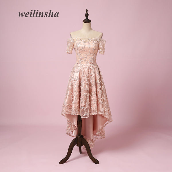 weilinsha New Arrival Short Evening Dresses Lace Short Sleeves Boat Neck  A-line Prom Party 0e8c31ba9f80