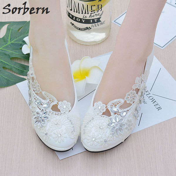 Sorbern White Flower Lace Crystals Wedding Shoes Round Toe Slip On Bridal Shoes Pumps High Heels Women Heels Bridesmaid Shoes