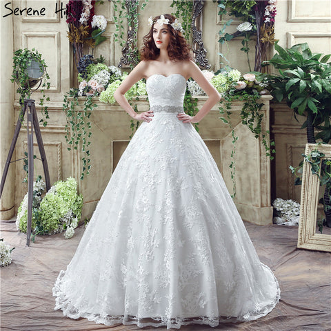 White Lace Sexy Off Shoulder Wedding Dresses 2018 Strapless Beading Fashion Bridal Gowns Robe De Mariage Real Photo