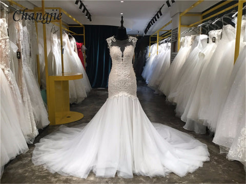 Vestido De Noiva 2018 Sexy Vintage Lace Wedding Dress Luxury Cathedral Train Ball Gown Bride Gowns Real Photos Custom Made