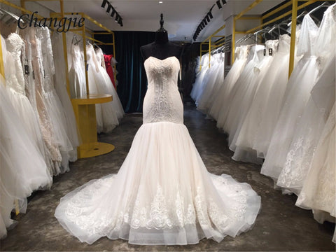 Vestido De Noiva 2018 Lace Wedding Dress Sweetheart Sleeveless Lace Up Court Train Mermaid Bride Gowns with Applique Real Photos