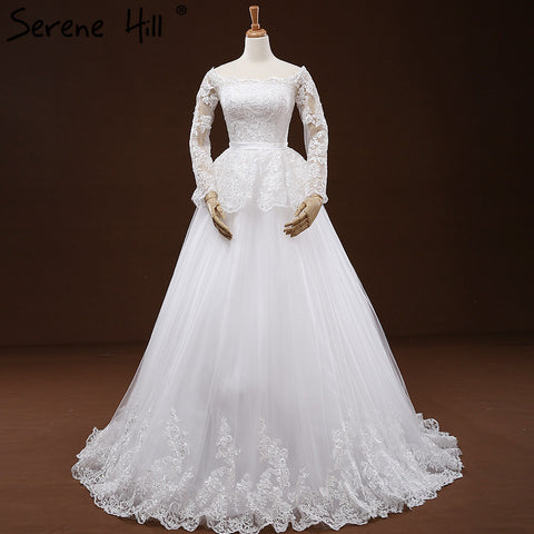 White High Waist Beading Embroidery Tulle Wedding Dress Long Sleeves Bridal Gown Vestido De Casamento 2018 Serene Hill
