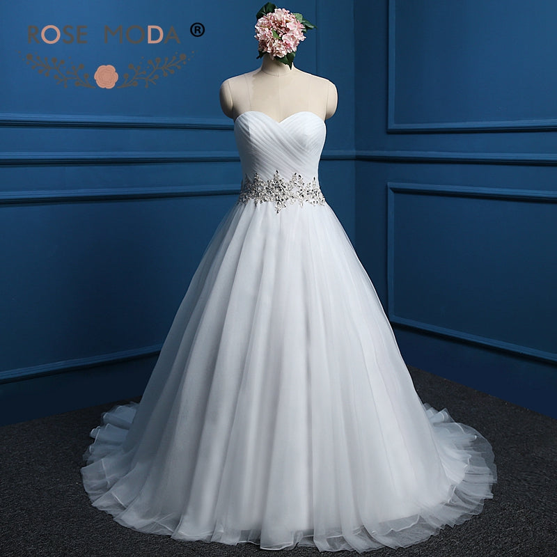 Rose Moda Strapless Sweetheart Puffy Tulle Ball Gown Crystal Beaded ...