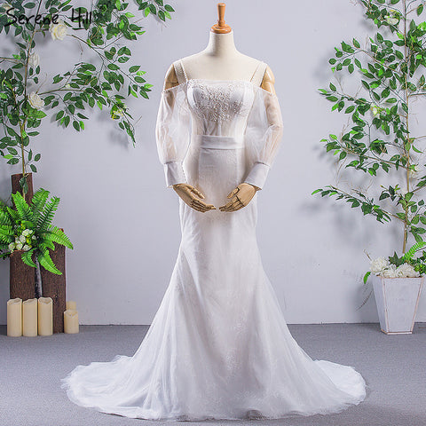 White Vintage Strapless Long Sleeve Wedding Dresses Sexy Slim Mermaid Lace Bride Gowns 2018 Robe De Mariage