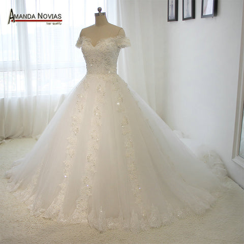 2016 Luxury full beading shinny wedding dress with long train