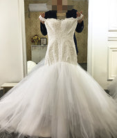 2017 New Mermaid Wedding Dress Off The Shoulder Straps With Lace Straps Bride Dress