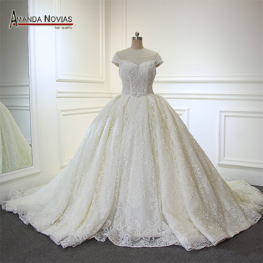 59433b3915 New Arrival Luxury Overlay Lace Ball Gown Wedding Dress With Long Trai –  Azongalbridal