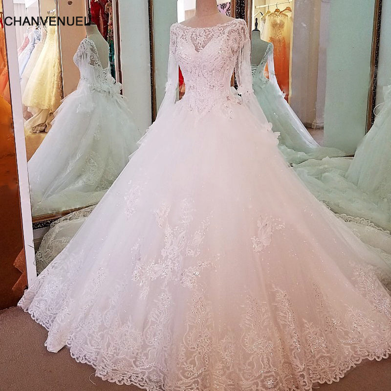 Ls66841 Long Sleeve Wedding Gown Simple Lace Ball Gown Lace Up Back