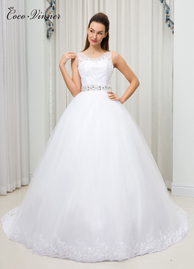 8de52cb7c6 C.V Sheer Neck Illusion Plus Size Ball Gown Wedding Dress vestido de n –  Azongalbridal