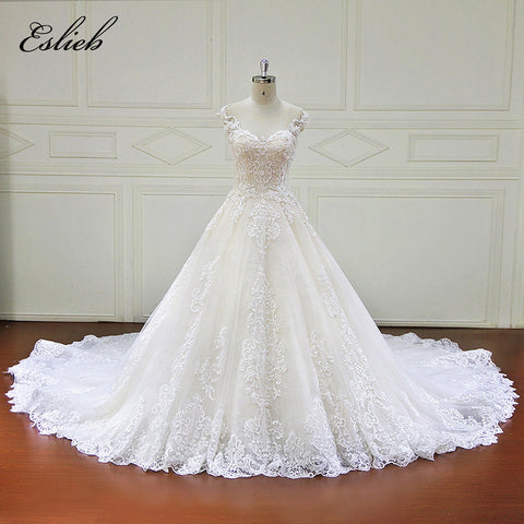 Sweet Heart O Neck Wedding Dress A Line Cap Sleeves Special Design Fairy Style Wedding Dress Chapel Tail Backless Bridal Gown