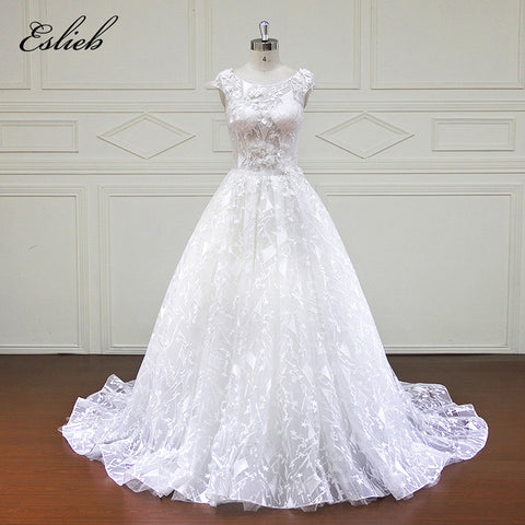 Sweet Flower Sequined Pearls Wedding Dress Cap Sleeves O Neckline Illusion Sexy Lace Up Back Chapel Train Sparkling Bridal Gown
