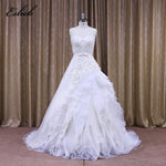 Sweet Heart Tank Bodice Lace Appliques A Line Wedding Dress Lace Sashes V Back Wedding Dress 2017 Zipper Bridal Dresses 2017
