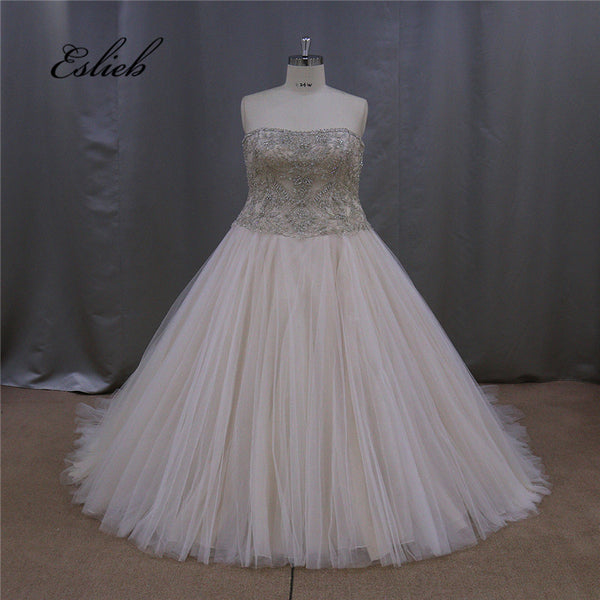 Sparkling A Line Off the Shoulder Wedding Dress Full Beading Crystal Bridal Gown Pearls Beads Heavy Beaded Plus Size Dresses