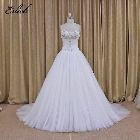 Sweet Heart A Line Tulle Elegant Wedding Dress 2017 Beads Crystal Pearls Sequins Bridal Dress Wedding Lace Up Back Ivory
