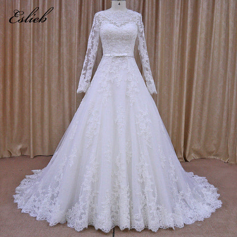 Simple Full Lace Appliques Wedding Dress Long Sleeves A Line 2017 Wedding Dresses