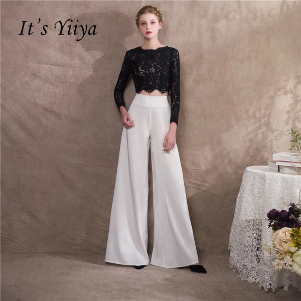 It's Yiiya Two Pieces Long Sleeves Zipper Lace Floor Length Party Elegant Jumpsuit Formal Pant Suit Evening Dress Pants NX009