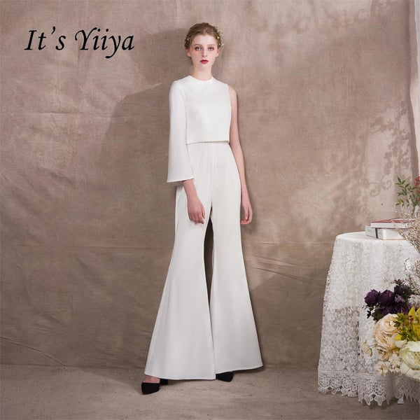 It's Yiiya One Shoulder Two Pieces Zipper Empire Dinner Party Dress Elegant Jumpsuit Formal Pant Suit Evening Dress Pants NX004