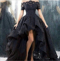 Charming Customized Black Lace Evening Gown Hi Low Sexy Off The Shoulder Boat Neck