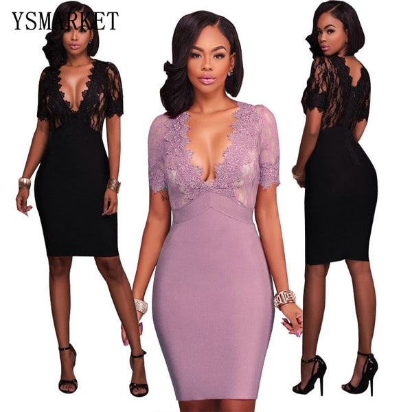 88c1f998619 2018 Night Party Sexy Floral Pattern Mesh Lace Bodycon Dress Women Deep V  See Through Slim